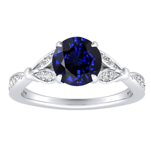 FLEUR  Blue  Sapphire  Engagement  Ring  In  14K  White  Gold  With  0.50  Carat  Round  Stone