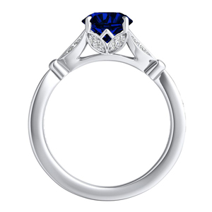 FLEUR  Blue  Sapphire  Wedding  Ring  Set  In  14K  White  Gold  With  0.50  Carat  Round  Stone