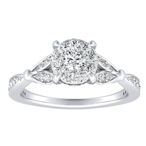 FLEUR Diamond Engagement Ring  In 14K White Gold With Round Diamond In H-I SI1-SI2 Quality