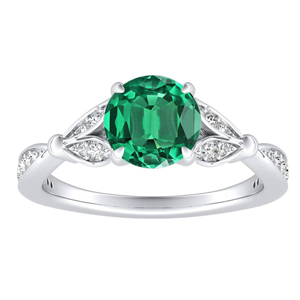 FLEUR Green Emerald Engagement Ring In 14K White Gold With 0.30 Carat Round Stone