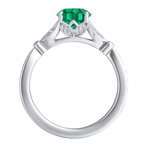 FLEUR  Green  Emerald  Engagement  Ring  In  14K  White  Gold  With  0.50  Carat  Emerald  Stone