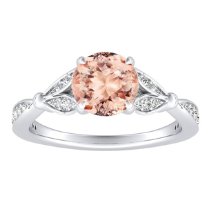 FLEUR Morganite Engagement Ring In 14K White Gold With 1.00 Carat Round Stone