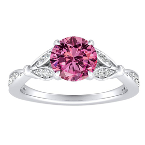 FLEUR  Pink  Sapphire  Engagement  Ring  In  14K  White  Gold  With  0.50  Carat  Round  Stone