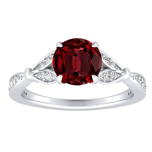 FLEUR Ruby Engagement Ring In 14K White Gold With 0.30 Carat Round Stone