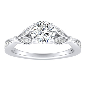 FLEUR Diamond Engagement Ring In 14K White Gold With 0.50ct. Round Diamond