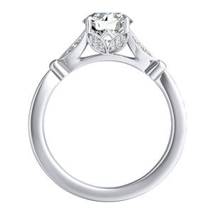 FLEUR  Moissanite  Wedding  Ring  Set  In  14K  White  Gold  With  0.50  Carat  Round  Stone