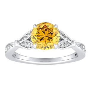 FLEUR Yellow Diamond Engagement Ring In 14K White Gold With 0.50 Carat Round Diamond