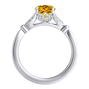 FLEUR  Yellow  Diamond  Engagement  Ring  In  14K  White  Gold  With  0.50  Carat  Round  Diamond