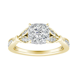 FLEUR Diamond Engagement Ring  In 14K Yellow Gold With Cushion Diamond In H-I SI1-SI2 Quality