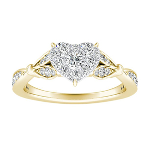 FLEUR Diamond Engagement Ring  In 14K Yellow Gold With Heart Diamond In H-I SI1-SI2 Quality