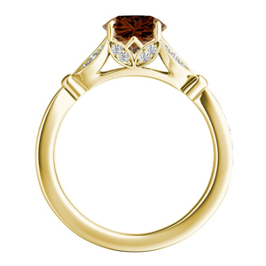 FLEUR  Brown  Diamond  Engagement  Ring  In  14K  Yellow  Gold  With  0.50  Carat  Round  Diamond