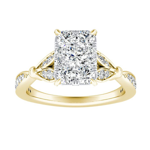 FLEUR Diamond Engagement Ring  In 14K Yellow Gold With Radiant Diamond In H-I SI1-SI2 Quality