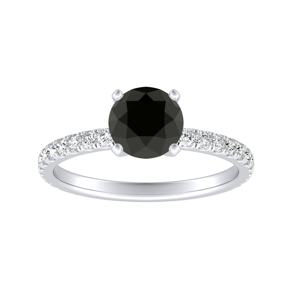 RILEY Classic Black Diamond Engagement Ring In 14K White Gold With 1.00 Carat Round Diamond