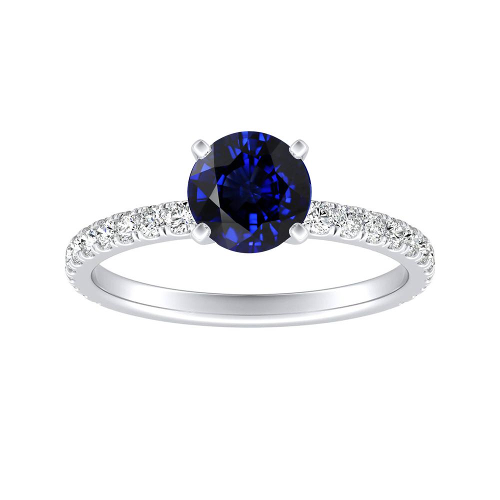 RILEY Classic Blue Sapphire Engagement Ring In 14K White Gold With 0.30 Carat Round Stone