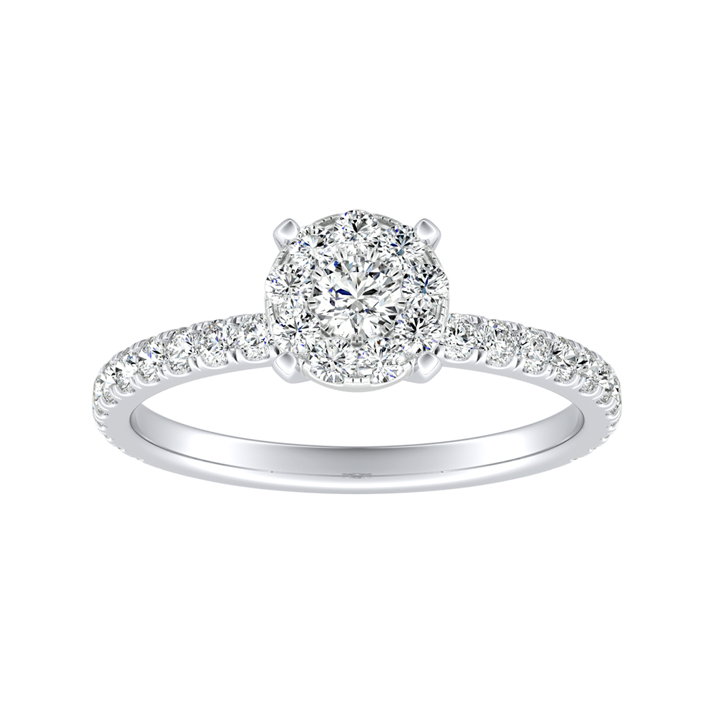 RILEY Classic Diamond Engagement Ring  In 14K White Gold With Round Diamond In H-I SI1-SI2 Quality