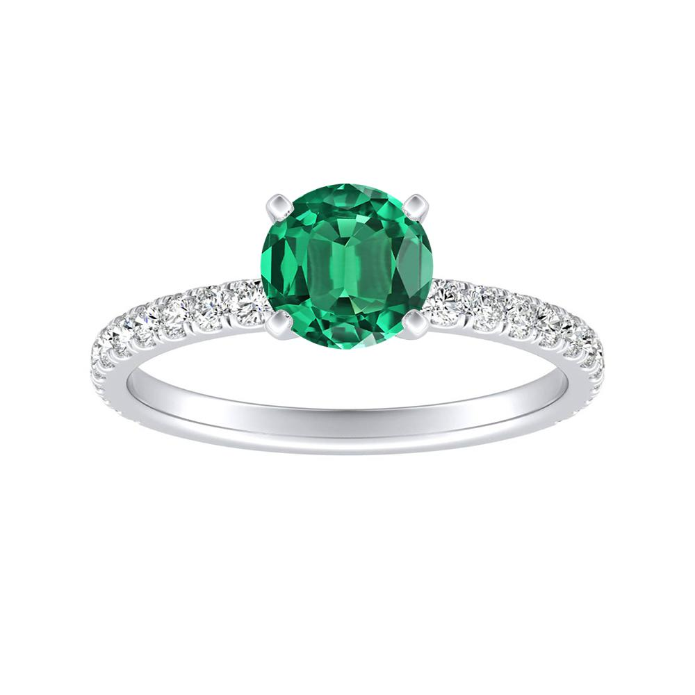 RILEY Classic Green Emerald Engagement Ring In 14K White Gold With 0.50 Carat Round Stone