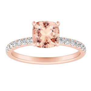 RILEY  Classic  Morganite  Engagement  Ring  In  14K  Rose  Gold  With  1.00  Carat  Cushion  Stone