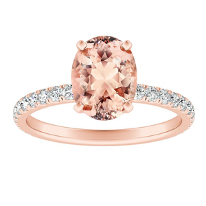 RILEY Classic Morganite Engagement Ring In 14K Rose Gold With 1.00 Carat Oval Stone