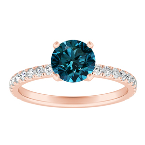 RILEY  Classic  Blue  Diamond  Engagement  Ring  In  14K  Rose  Gold  With  0.50  Carat  Round  Diamond