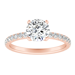 RILEY  Classic  Moissanite  Engagement  Ring  In  14K  Rose  Gold  With  0.50  Carat  Round  Stone