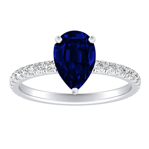 RILEY  Classic  Blue  Sapphire  Engagement  Ring  In  14K  White  Gold  With  0.50  Carat  Pear  Stone