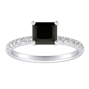 RILEY  Classic  Black  Diamond  Engagement  Ring  In  14K  White  Gold  With  1.00  Carat  Princess  Diamond