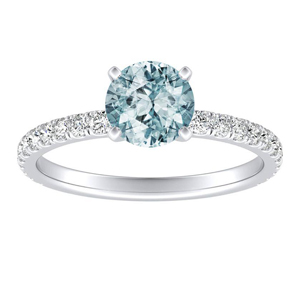 RILEY Classic Aquamarine Engagement Ring In 14K White Gold With 1.00 Carat Round Stone
