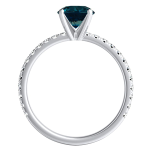 RILEY  Classic  Blue  Diamond  Engagement  Ring  In  14K  White  Gold  With  0.50  Carat  Round  Diamond