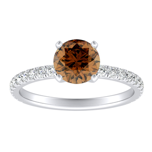 RILEY Classic Brown Diamond Engagement Ring In 14K White Gold With 0.30 Carat Round Diamond