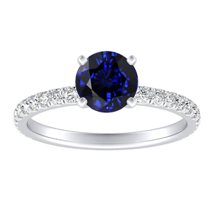 RILEY  Classic  Blue  Sapphire  Engagement  Ring  In  14K  White  Gold  With  0.50  Carat  Round  Stone