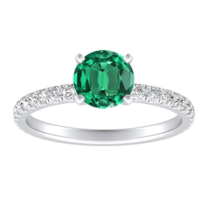 RILEY Classic Green Emerald Engagement Ring In 14K White Gold With 0.30 Carat Round Stone