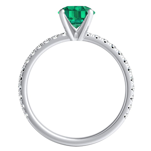 RILEY  Classic  Green  Emerald  Engagement  Ring  In  14K  White  Gold  With  0.50  Carat  Emerald  Stone