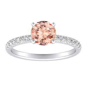 RILEY Classic Morganite Engagement Ring In 14K White Gold With 1.00 Carat Round Stone