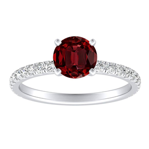 RILEY Classic Ruby Engagement Ring In 14K White Gold With 0.30 Carat Round Stone