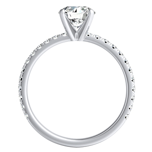 RILEY  Classic  Moissanite  Wedding  Ring  Set  In  14K  White  Gold  With  0.50  Carat  Round  Stone