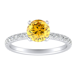 RILEY Classic Yellow Diamond Engagement Ring In 14K White Gold With 0.30 Carat Round Diamond