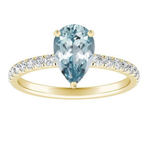 RILEY  Classic  Aquamarine  Engagement  Ring  In  14K  Yellow  Gold  With  1.00  Carat  Pear  Stone