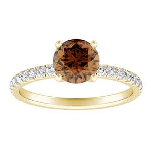 RILEY  Classic  Brown  Diamond  Engagement  Ring  In  14K  Yellow  Gold  With  0.50  Carat  Round  Diamond