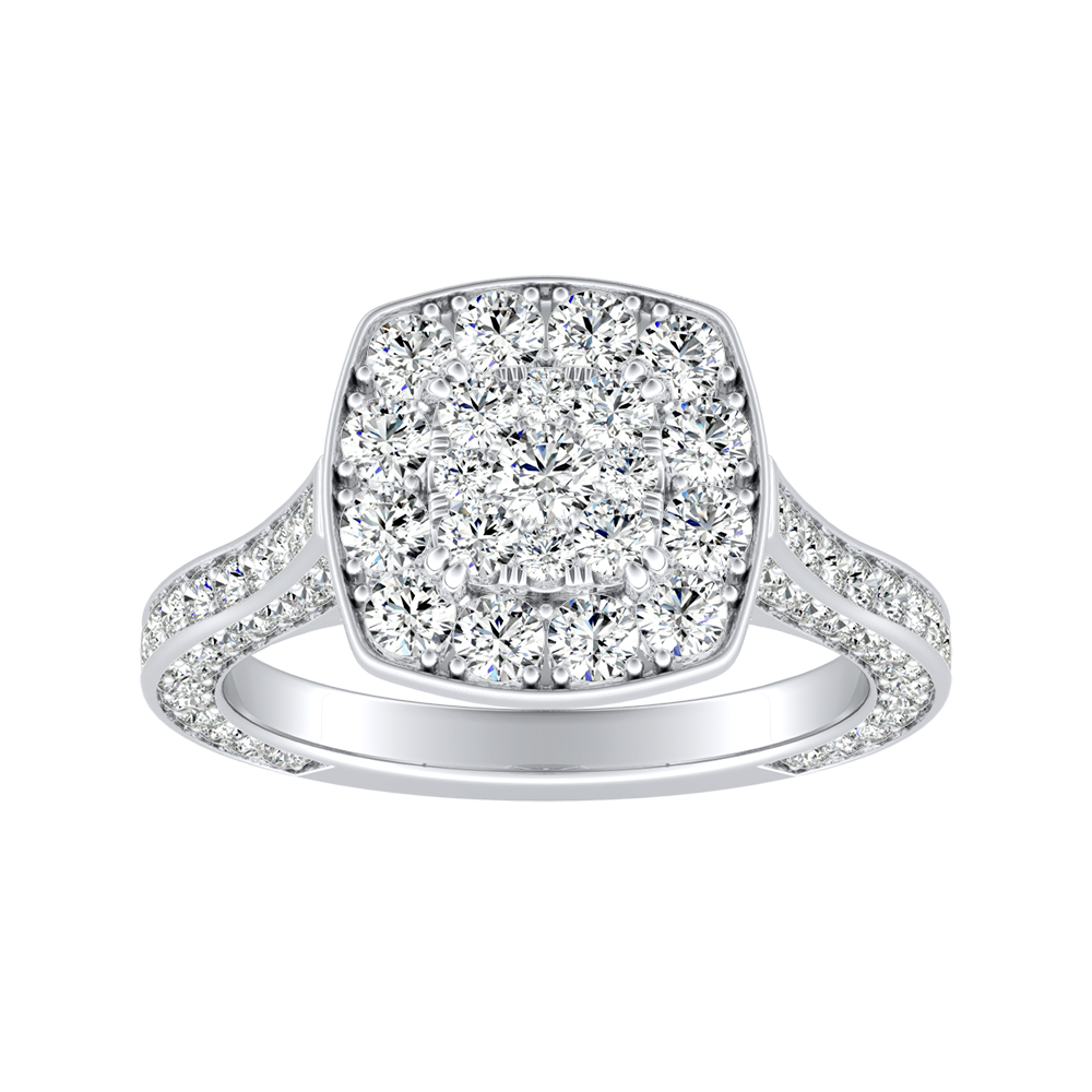 PENELOPE Halo Engagement Ring In 14K White Gold With Cushion Diamond In H-I SI1-SI2 Quality