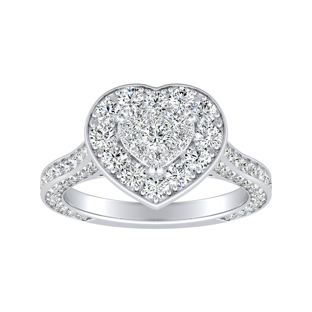 PENELOPE Halo Engagement Ring In 14K White Gold With Heart Diamond In H-I SI1-SI2 Quality
