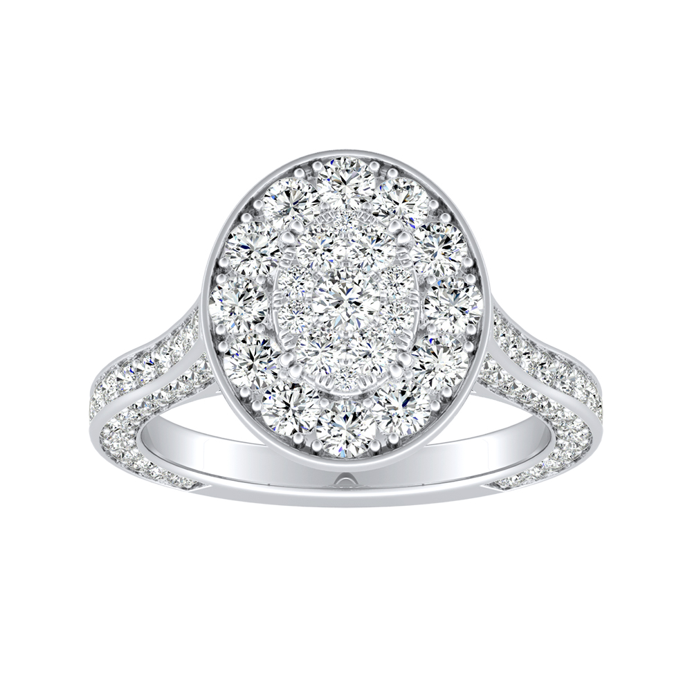 PENELOPE Halo Engagement Ring In 14K White Gold With Oval Diamond In H-I SI1-SI2 Quality