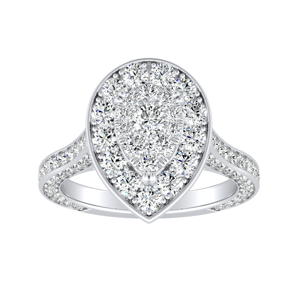 PENELOPE Halo Engagement Ring In 14K White Gold With Pear Diamond In H-I SI1-SI2 Quality