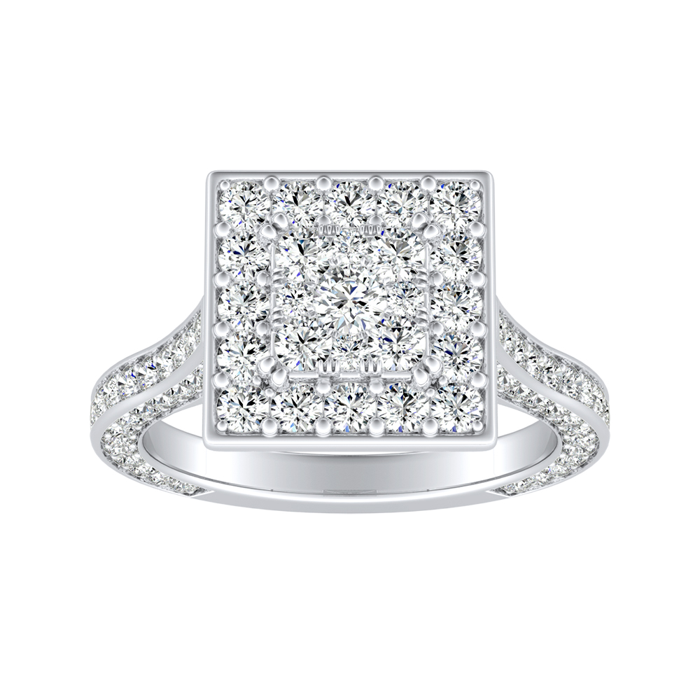 PENELOPE Halo Engagement Ring In 14K White Gold With Princess Diamond In H-I SI1-SI2 Quality