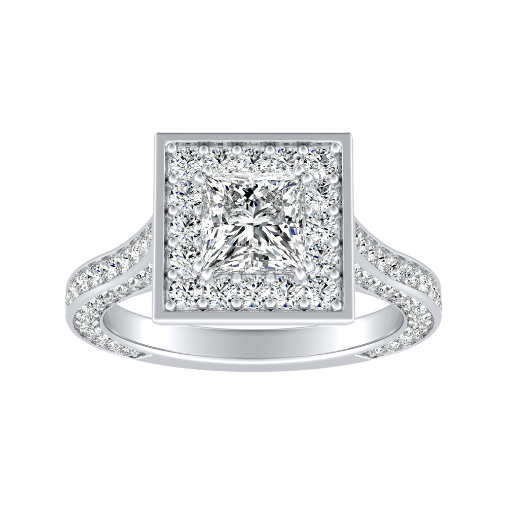 PENELOPE Halo Engagement Ring In 14K White Gold