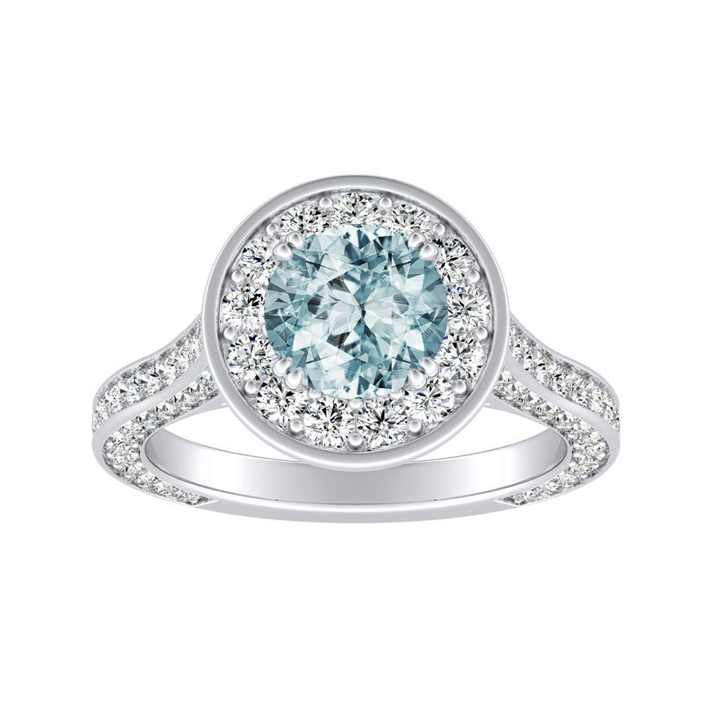 PENELOPE Halo Aquamarine Engagement Ring In 14K White Gold With 1.00 Carat Round Stone