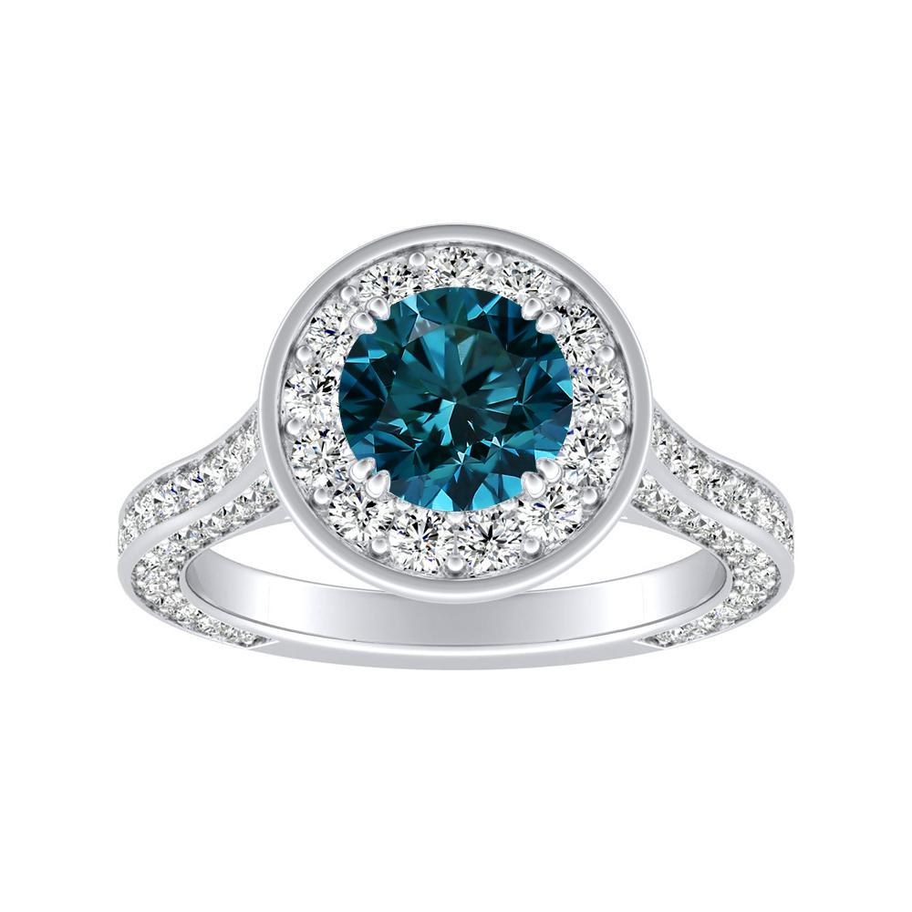 PENELOPE Halo Blue Diamond Engagement Ring In 14K White Gold With 0.50 Carat Round Diamond