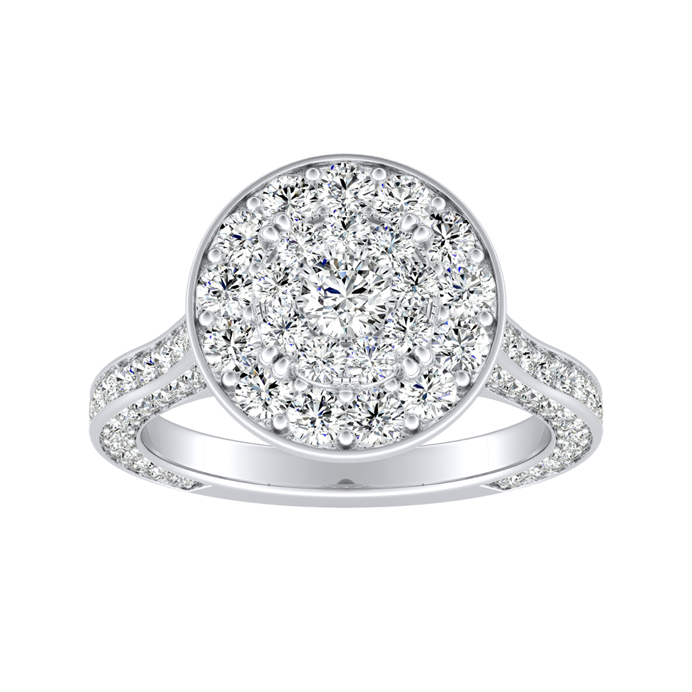 PENELOPE Halo Engagement Ring In 14K White Gold With Round Diamond In H-I SI1-SI2 Quality