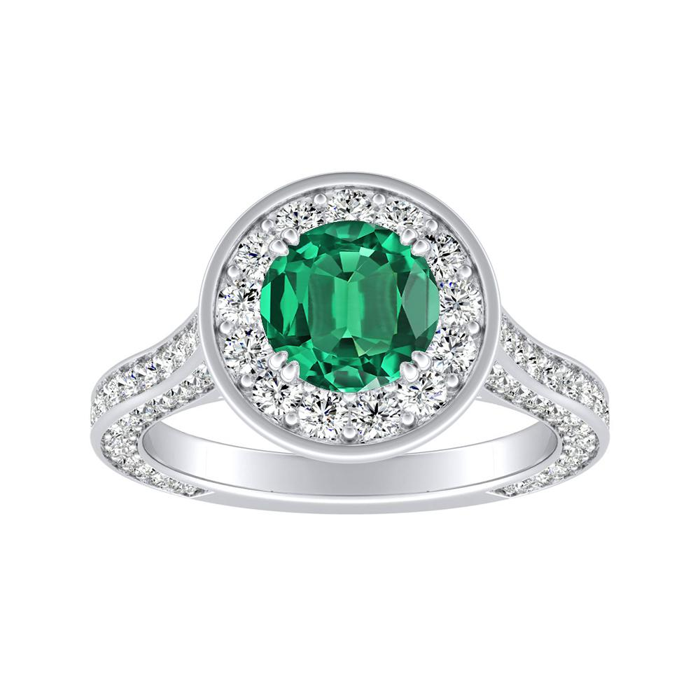 PENELOPE Halo Green Emerald Engagement Ring In 14K White Gold With 0.30 Carat Round Stone