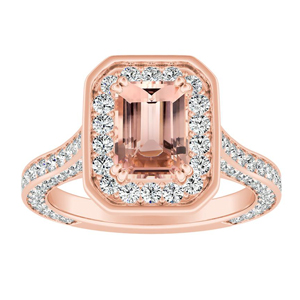PENELOPE Halo Morganite Engagement Ring In 14K Rose Gold With 4.00 Carat Emerald Stone