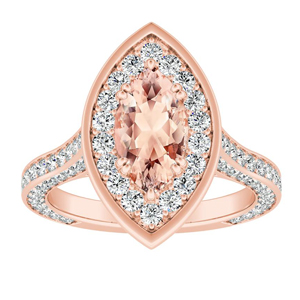 PENELOPE Halo Morganite Engagement Ring In 14K Rose Gold With 2.00 Carat Marquise Stone